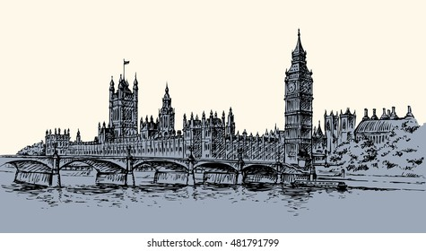 Big Ben in Elizabeth Steeple, old Great Bell at Westminster abbey Palace. Freehand ink hand drawn background sketch in art doodle retro style pen on paper. Panoramic view with space for text on sky