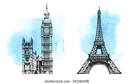 Big Ben (Elizabeth Tower), Eiffel Tower, world landmark vector set on hand drawn watercolor background, isolated on white