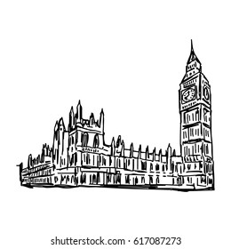 Big Ben and House of Parliament - vector illustration sketch hand drawn isolated on white background