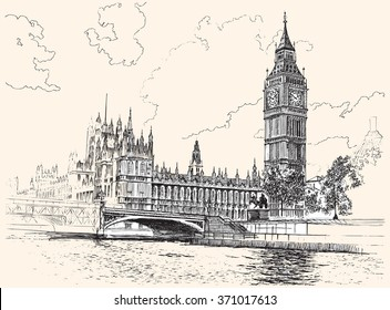 Big Ben and Houses of Parliament, Westminster, London, hand-drawing, vector illustration.