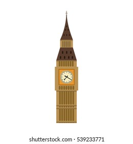 Big Ben icon in cartoon style isolated on white background. England country symbol stock vector illustration.