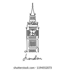 Big Ben, London continuous line illustration