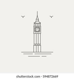 Big ben london english landmark icon vector illustration