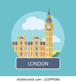 Big Ben, London, UK. Poster concept in cartoon style with text