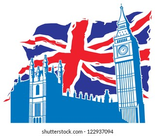 big ben of london with union jack as a background