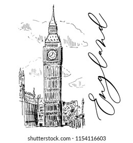Big Ben In London Vector Sketch Illustration