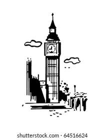 Big Ben - Retro Clipart Illustration