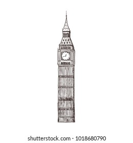 Big ben, sight of London. Isolated on the white background.