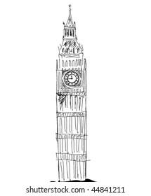 big ben sketch vector