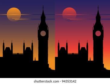 Big Ben at sunset, under a full moon