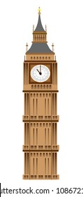 Big Ben tower illustration, isolated on white background, vector