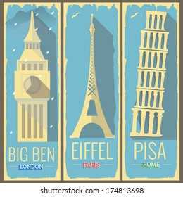 big ben tower london, eiffel tower paris and pisa tower rome icon style illustrations on retro vintage poster postcard design