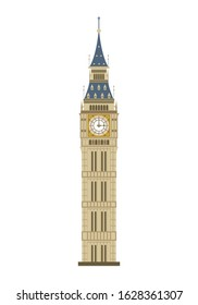 Big Ben tower in London, UK, isolated on a white background. Vector illustration, flat style.