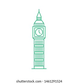 Big ben tower outline icon