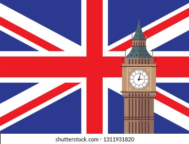 Big Ben with United Kingdom flag background. Vector illustration