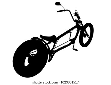 Big bike for cyclist on white background
