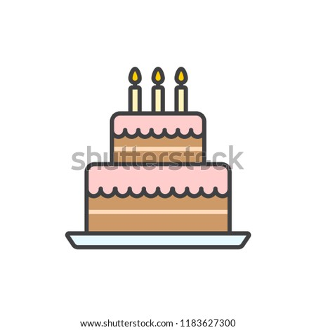 Big Birthday Cake With Candles Colored Line Icon
