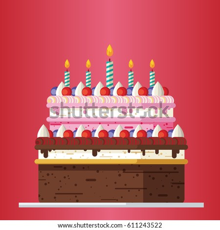 Big Birthday Cake With Candles Flat Icon Vector Illustration Good For Card