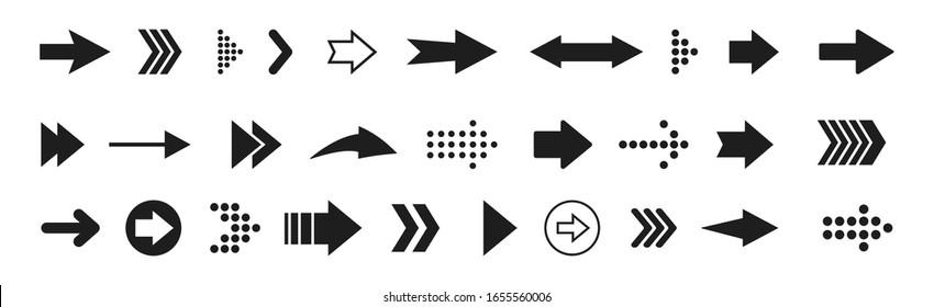 Big black arrows set icons