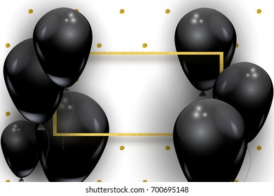 Big black realistic balloons vector concept. Beautiful gold glitter frame, dot pattern, flyer party card template with space for text, isolated on white. Vector beautiful helium balons, gold frame.
