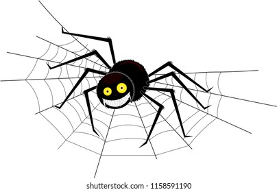 Big black smiling spider sitting on a cobweb in the corner, on an isolated background.
