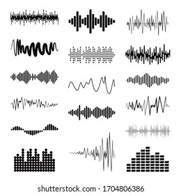 Big black sound wave collection. Set of isolated audio logos, design symbols. Vector equalizer elements. Pulse music players.