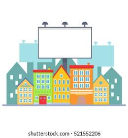 Big blank urban billboard over small city town street buildings. Cartoon Billboard advertisement commercial blank
