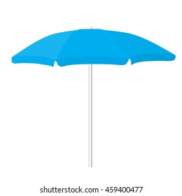 big blue beach opened umbrella isolated vector illustration