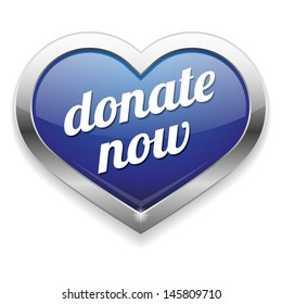 Big blue donate now heart button