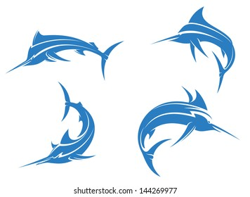 Big blue marlins with sharp nose isolated on white background for fishing sport design or idea of logo. Jpeg version also available in gallery