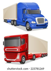 big blue and red trucks vector illustration isolated on white background