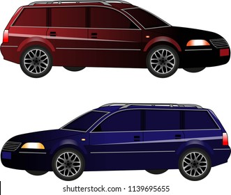 Big blue and red universal cars for family in vectors. View from side. Realistic hot vehicle.  Flat illustration of automobile for business. Isolated icon of transport.  Cartoon auto.