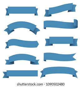 Big Blue Ribbons Set, Vector Illustration