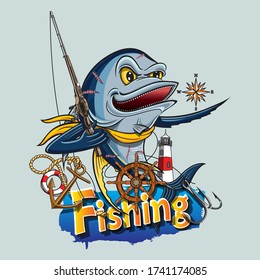 A big blue tuna carrying a fishing rod surrounded by things that are symbolic of the sea. e.g. lifebuoy, anchor, lighthouse, helm, compass. Vector illustration can be used to create logos and emblem