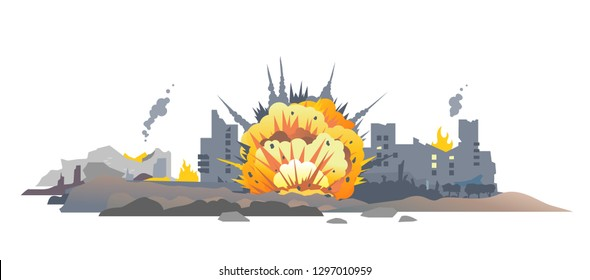 Big bomb explosion with shrapnel and fireball in city, destroyed buildings ruins and concrete, war destruction concept illustration isolated on white background