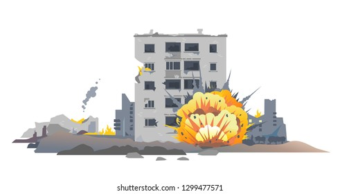 Big bomb explosion with shrapnel and fireball in city near the building, destroyed buildings ruins and concrete, war destruction concept illustration isolated on white background