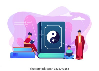 Big book with yin-yang and taoism family reading, tiny people. Yin yang Taoism, Daoism and Confucianism, Taoism Chinese philosophy concept. Bright vibrant violet vector isolated illustration
