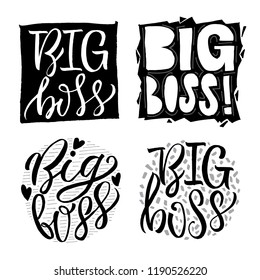 Big boss hand drawn illustration with lettering