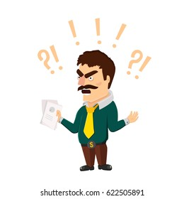 Big boss wears green shirt and yellow tie. Yelling office worker with papers in hand isolated on white background. Screaming man surrounded with exclamation and question marks.