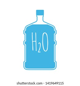 Big bottle full of water with h2o formula inscription. Blue plastic container icon isolated on white background. Vector illustration