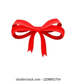Big bow made of red satin ribbon. Bright decor for gift box. Flat vector element for greeting card or advertising flyer