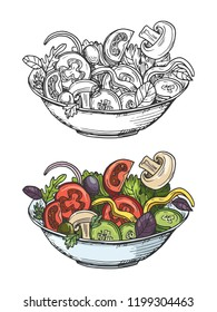 Big bowl of green salad with tomatoes, cucumbers, olives, onion, mushrooms. Vector illustration isolated