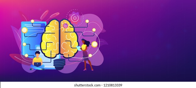 Big brain with circuit and programmers. Artificial intelligence, machine learning and data science, cognitive computing concept on white background. Header or footer banner template with copy space.