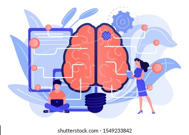 Big brain with circuit and programmers. Artificial intelligence, machine learning and data science, cognitive computing concept on white background. Pink coral blue vector isolated illustration