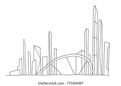Big bridge city skyscraper sketch. Hand drawn vector stock line illustration. Building future architecture landscape. Business center.