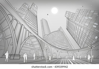 Big bridge, night city on background, industrial and infrastructure illustration, white lines landscape, people walk on the square, silver version, vector design art