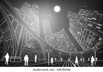 Big bridge, night city on background, industrial and infrastructure illustration, white lines landscape, people walk on the square, dark version, vector design art