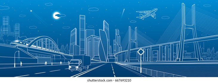 Bridge blueprint images stock photos vectors shutterstock big bridge wide highway road overpass urban infrastructure modern city on background malvernweather Choice Image