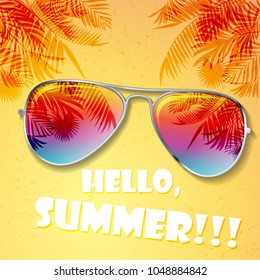 Big bright color summer sunglasses with palms and white sample text