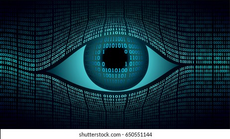 Big brother electronic eye concept, technologies for the global surveillance, security of computer systems and networks, digital technology